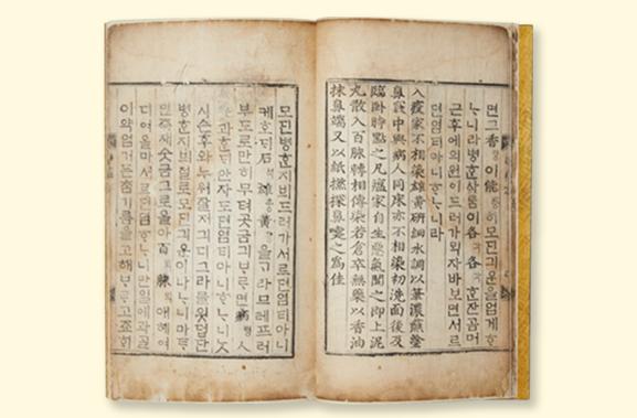 간이벽온방언해 원본. 누렇게 바랜 책이 펼쳐져 있다. 양쪽 모두 세로로 줄이 나뉘어 있으며, 줄에 따라 한글과 한자가 뒤섞여 세로쓰기 되어있다.