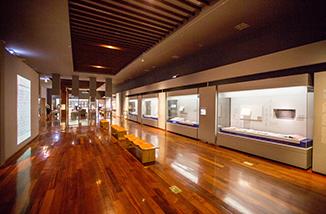 국립한글박물관 상설전시장의 일부 모습. 길게 늘어진 전시장 한쪽 벽면에 한글 관련 전시물들이 전시되어 있다. 중간에는 앉아서 쉴 수 있는 나무 의자들이 놓여있다.